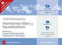 Hormonen speeksel test man plus + van medivere om je progesteron, testosteron, DHEA en cortisol te meten.